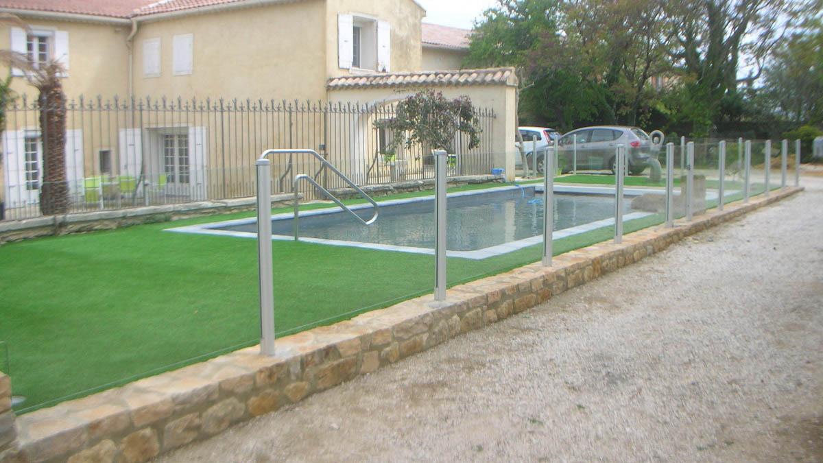 barriere piscine transparente verre orange